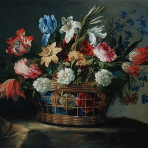 Basket of flowers with lilies - Juan de Arellano