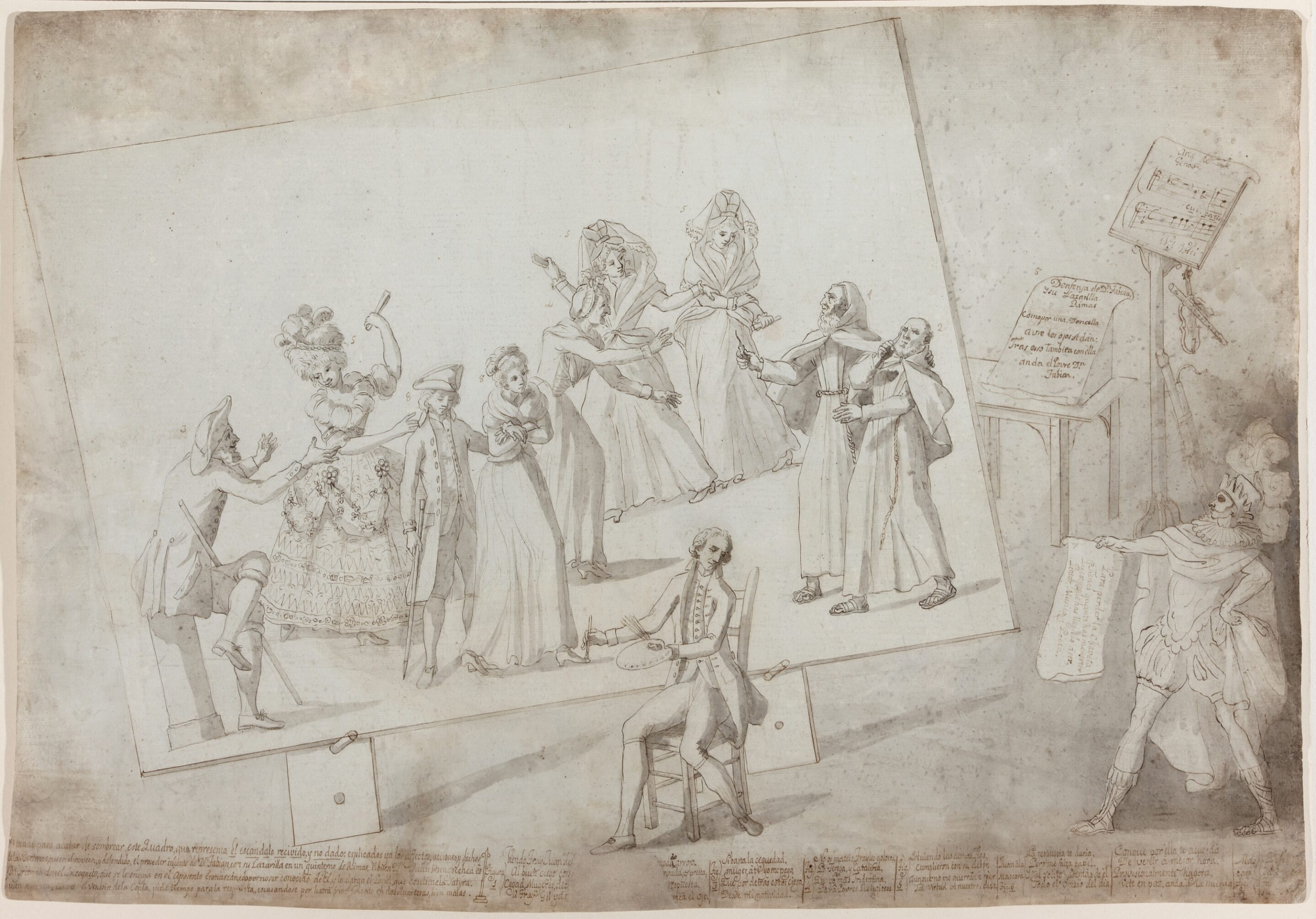 Satire of Don Fabián and his Guide or Scandal received and not given - Spanish School, 18th century