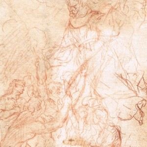 Saint Nicholas of Tolentino and the Souls in Purgatory (recto) / Study for one of the Souls in Purgatory (verso) - Mateo Cerezo, el Joven. Attributed to