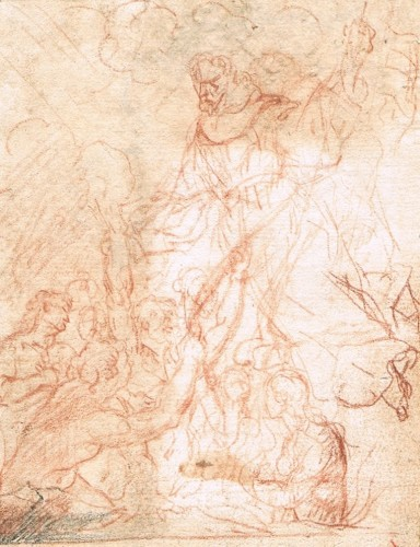 Saint Nicholas of Tolentino and the Souls in Purgatory (recto) / Study for one of the Souls in Purgatory (verso) - Mateo Cerezo, el Joven, attributed to