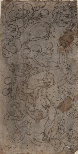 Decoration of Scrolls, Putti and a Bird - Spanish School 16th century