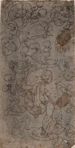 Decoration of Scrolls, Putti and a Bird - Spanish School 16th century