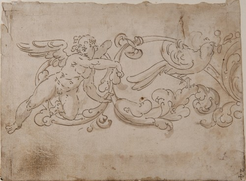 Decoration of Scrolls with a small Angel and a Bird - Spanish School 16th century