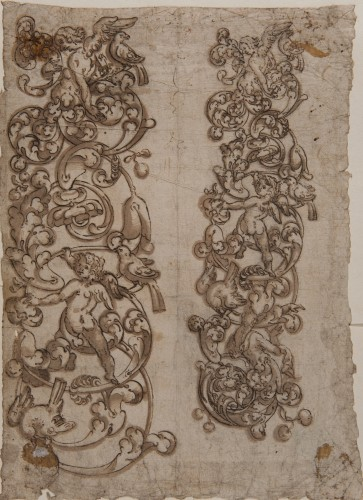Decoration of Scrolls and Putti - Spanish School 16th century
