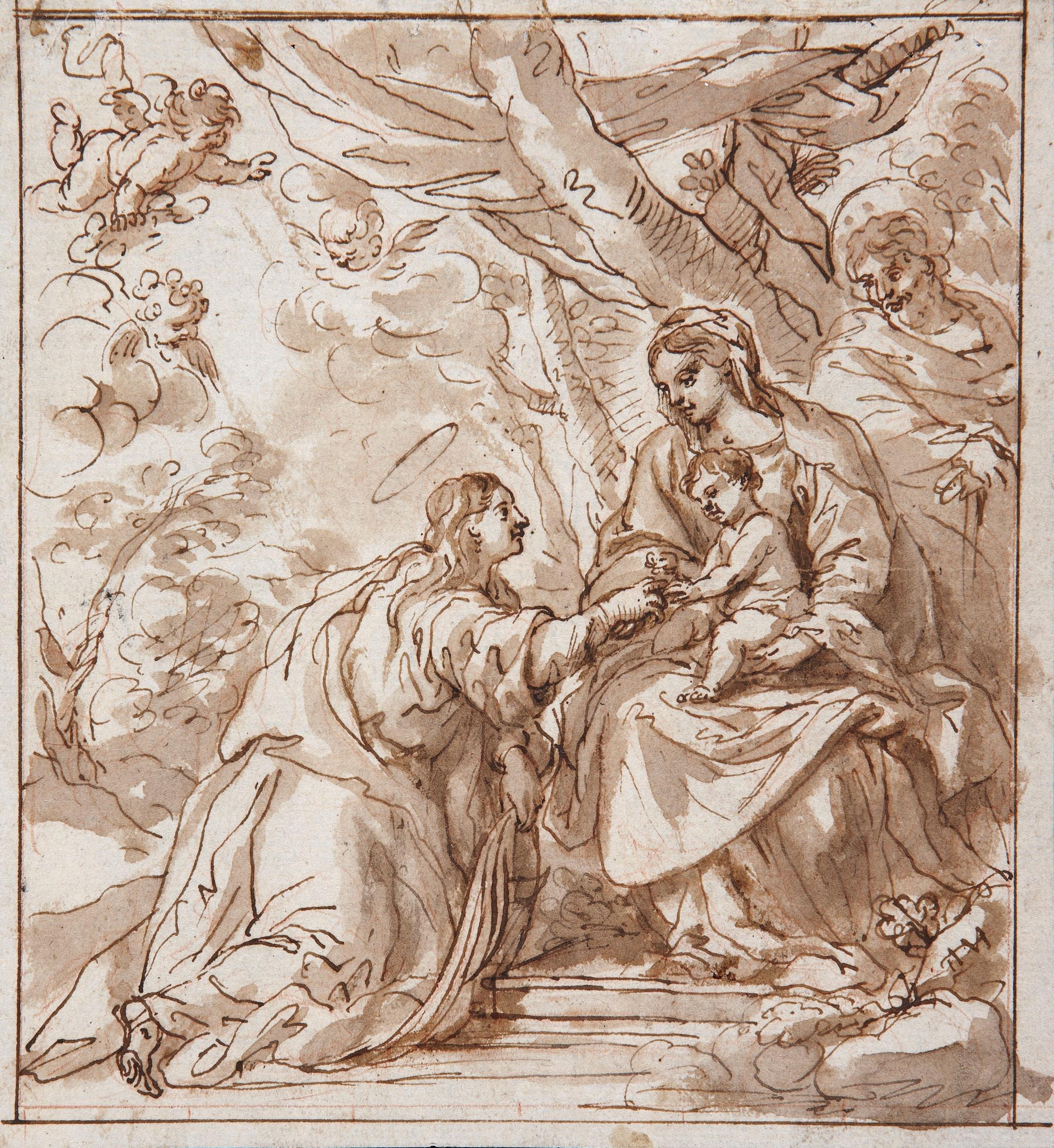 The Mystic Marriage of Saint Catherine of Alexandria - Madrid School, 17th century
