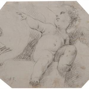 Angel holding a Medallion - Luca Giordano