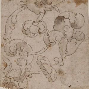 Foliate Decoration with a Bird - Spanish School 16th century