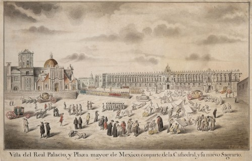View of the Royal Palace and the Plaza Mayor in Mexico City - René-Gabriel Rabié