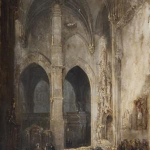 Interior of a cathedral - Genaro Pérez Villaamil y Duguet