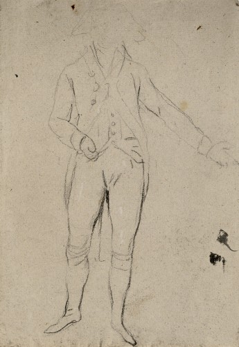 """Study for the Figure of Godoy for the engraved frontispiece of the """"Real Picadero"""" - Antonio Carnicero"""