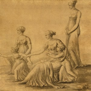 The French Imperial Princess, wife of Joseph I Bonaparte, Marie Julie Clary, and her two daughters Zenaida and Carlota Bonaparte, with two ladies-in-waiting - Alexandre-Hyacinthe Dunouy