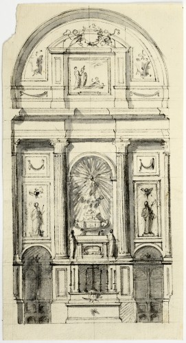 Initial sketch for the principal altar of the Colegiata de San Isidro - Ventura Rodríguez