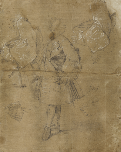 Studies for a portrait of Louis I (recto) Study of two male figures (verso) - Michel-Ange Houasse