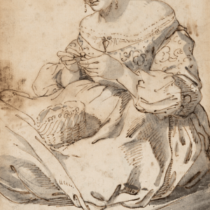 Lady sewing -