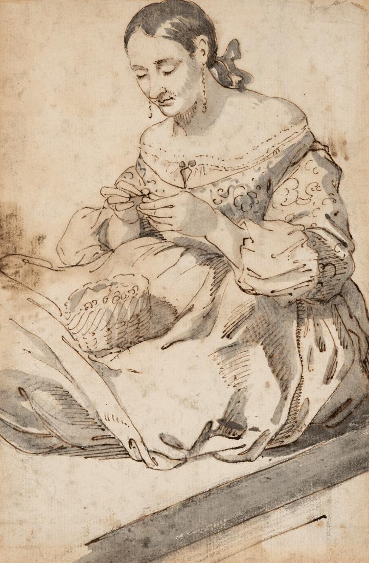 Lady sewing - Madrid School, 17th century