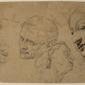 """Study of Heads for the painting """"The Holy Family with Saints"""" -"""