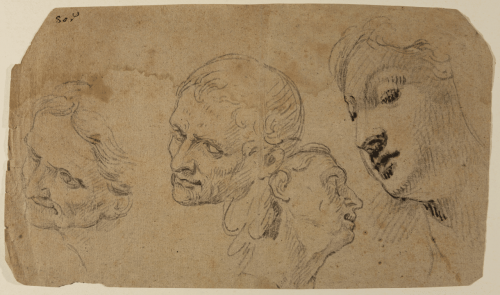 "Study of Heads for the painting ""The Holy Family with Saints"" - Francisco Ignacio Ruiz de la Iglesia"
