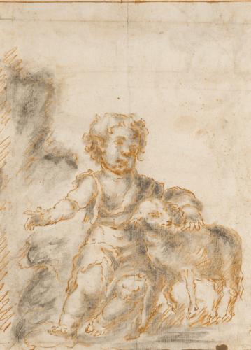 Saint John the Baptist Child with the Lamb - Sevilian School, 17th century